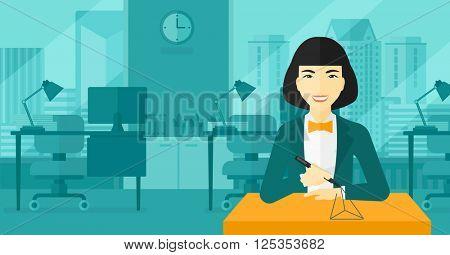 Woman using three D pen.