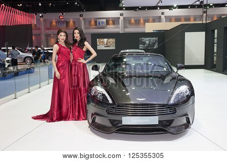 BANGKOK - MARCH 22: Aston Martin Vanquish car with Unidentified models on display at The 37 th Thailand Bangkok International Motor Show on March 22 2016 in Bangkok Thailand.