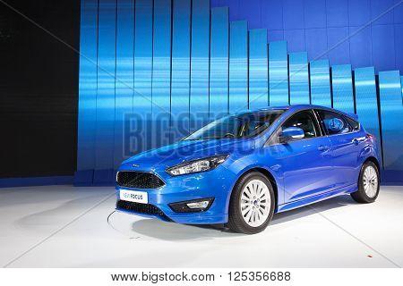 BANGKOK - MARCH 22: Ford New Focus car on display at The 37 th Thailand Bangkok International Motor Show on March 22 2016 in Bangkok Thailand.