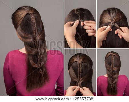 fishtail braid tutorial .Method of french braid.Process of weaving fishtail braid.Hairstyle for long hair