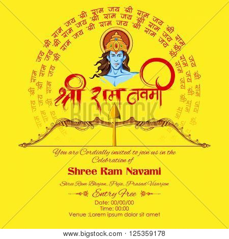 illustration of Lord Rama with message in hindi meaning Shri Ram Navami background