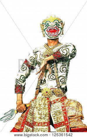Thai Culture Dancing art in masked Khon hanuman that high classical of dance in Siam Bangkok Thailand ,india,cambodia asia story show