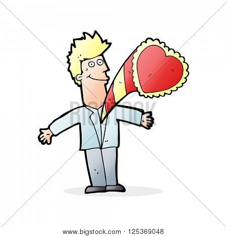 cartoon man with thumping heart