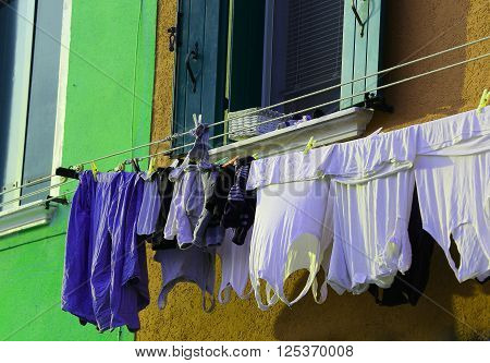 Lots Of Clothes Hung Out To Dry