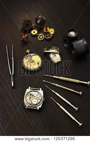 Repairs of old mechanical watches and tools for repair