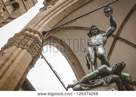 Statue of Perseus With the Head of Medusa at Piazza Della Signoria Florence Italy