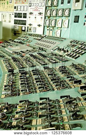 VARNA, BULGARIA, VARNA HEAT POWER PLANT, APRIL 12 2016: The Control center of a Power plant Varna, Bulgaria. Gross power is 1320 MW; used fuel is COAL. The plant is decommissioned in 2015. Most equipment is manufactured in the USSR.