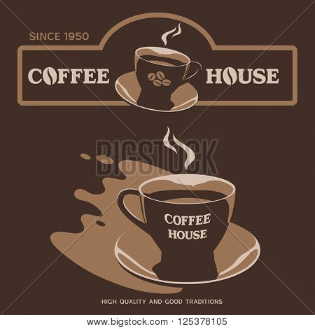 Coffee House vector design with cup and saucer