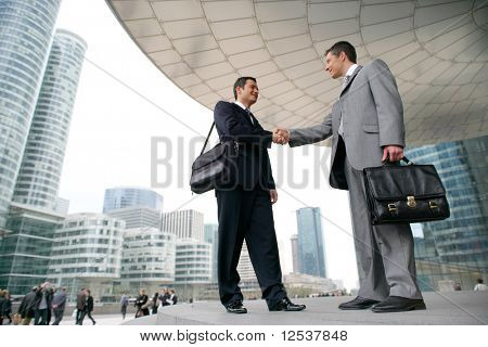 Portrait of two men shaking hands