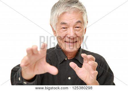 portrait of senior Japanese man with supernatural power poster