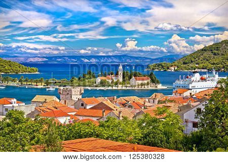 Scenic island of Vis waterfront Dalmatia Croatia