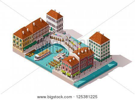 Isometric Venice street with Rialto bridge