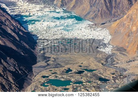 Mountain Landscape with Unique Moraine Glacier Lakes and Icefall with Rock and Snow Slopes and Summits on Horizon poster