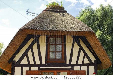 Calvados (Normandy France): typical half-timbered house with plants flowers and a garden over the roof