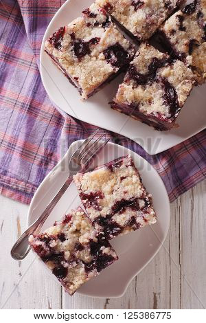 Berry Buckle Close Up On A Plate. Vertical Top View