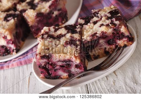 Berry Blueberry Buckle Close-up On A Plate. Horizontal