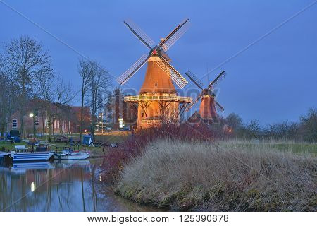 the famous Windmills of Greetsiel in East Frisia at North Sea,lower saxony,Germany