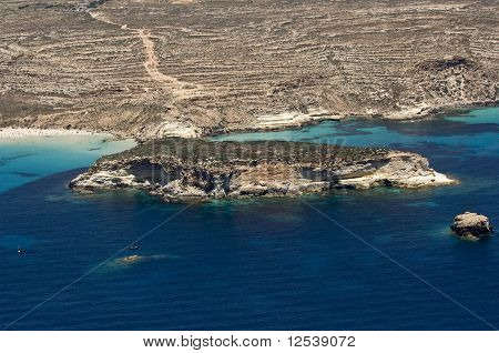 lampedusa island, landscape with island of Rabbit and beach, sicily, italy
