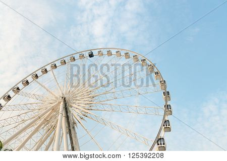 Huge, Permanent Ferris Wheel With Glass Walled Gondolas