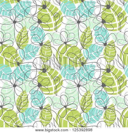 Floral garden pattern, summer tropical background