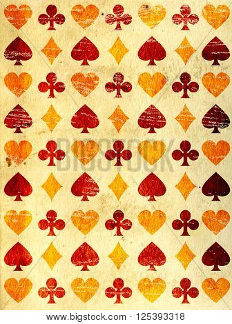 Grunge background with paper texture and playing cards symbols