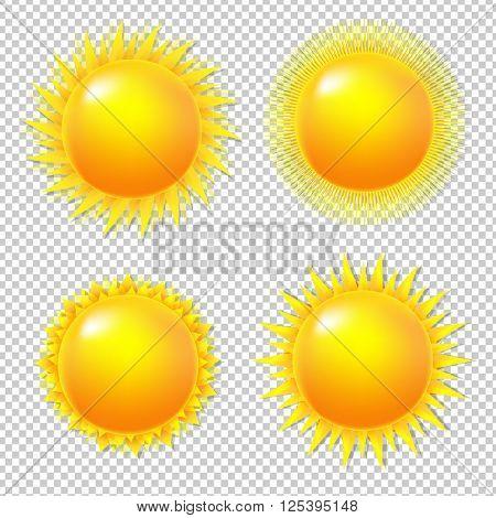 Big Set Sun With Gradient Mesh, On Transparent Background, Vector illustration