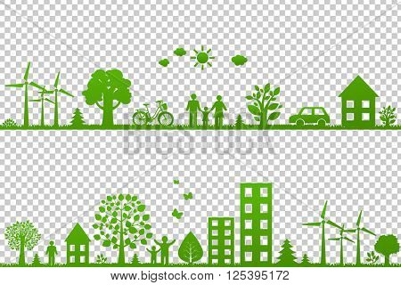 Eco Borders, Isolated on Transparent Background, With Gradient Mesh, Vector Illustration