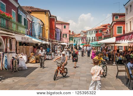 BURANO ITALY - JUNE 13 2010: The central market place at Burano island. Italy