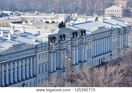 Building of Russian Constitutional Court and President library - former buildings of Senate and Synod in St. Petersburg - birds eye view