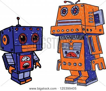 Vector image of the two toy robots.