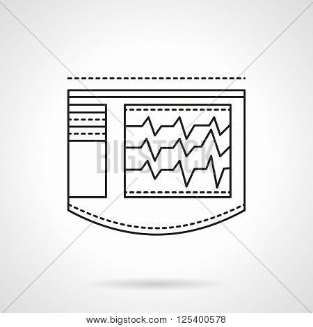 Electrocardiogram monitor device display. Cardiology equipment. Rescue equipment. Flat line style vector icon. Single design element for website, business.