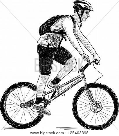 Vector drawing of a teen riding a bicycle.