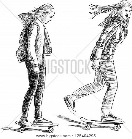 Vector drawing of the school girls riding on the skateboards.