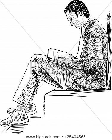 Vector sketch of a student reads a book.