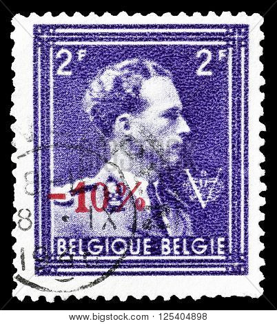 BELGIUM - CIRCA 1943 : Cancelled postage stamp printed by Belgium, that shows king Leopold.