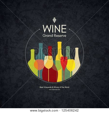 Wine list design. Vector brochure template for wine shop, winery, wine list, cafe, restaurant, bar. Food and drinks logotype symbols. Wine bottles and wine glasses
