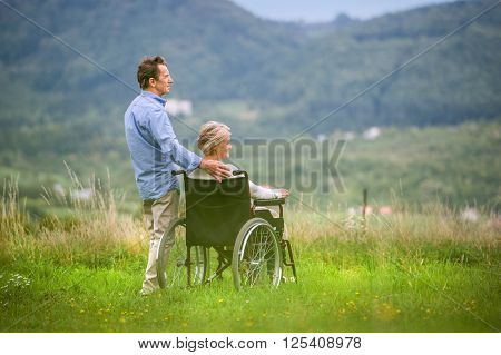 Senior man with woman sitting in wheelchair oustide in green autumn nature, rear view