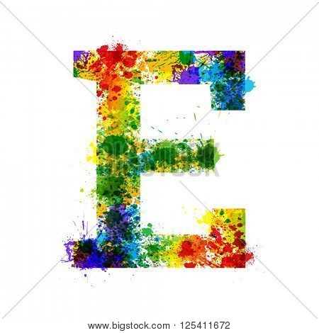 Color Paint Splashes. Gradient Vector Font. Watercolor Designer Decoration Alphabet. Colar ink Symbols Isolated ob a White Background. Letter E