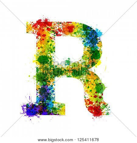 Color Paint Splashes. Gradient Vector Font. Watercolor Designer Decoration Alphabet. Colar ink Symbols Isolated ob a White Background. Letter R