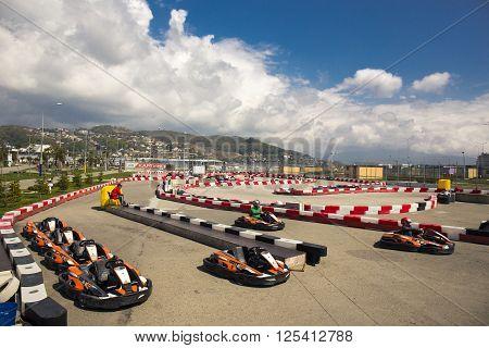 SOCHI, RUSSIA - MARCH 30, 2016: View of a go-kart track near Sochi Olympic park