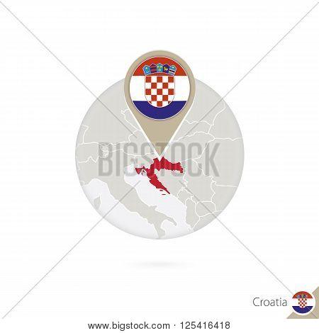 Croatia map and flag in circle. Map of Croatia Croatia flag pin. Map of Croatia in the style of the globe. Vector Illustration.