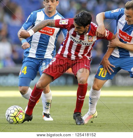 BARCELONA - APRIL, 9: Augusto Fernandez of Atletico Madrid during a Spanish League match against RCD Espanyol at the Power8 stadium on April 9, 2016 in Barcelona, Spain