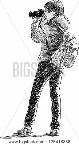 Vector drawing of an young tourist takes picture.