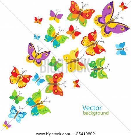 Cartoon Style Butterfly Background. Colorful Butterflies In Vector. Nice Childish Background. Summer Meadow Background. Flying Butterfly Toy. Flying Butterfly Drawing. Flying Butterfly Model.