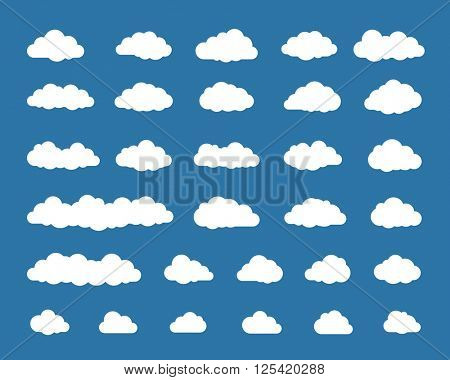 Collection of different cloud icons. Vector illustration of cloud icons