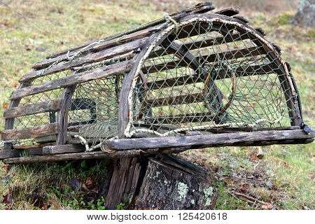 Lobster Trap; Old fashioned Wooden Lobster Trap