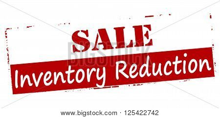 Rubber stamp with text sale inventory reduction inside vector illustration