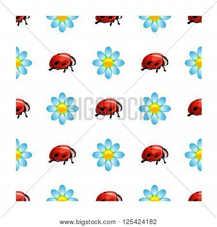 funny children vector seamless pattern on a white background ladybugs and daisies