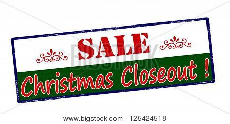 Rubber stamp with text sale Christmas closeout inside vector illustration