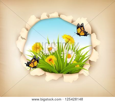 Hole in paper revealing a spring background. Vector.